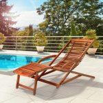Deuba 2 en 1 tumbona y silla de madera de Acacia
